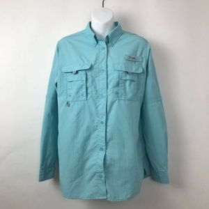 Columbia PFG Button Down Shirt Blue Mesh Vented S